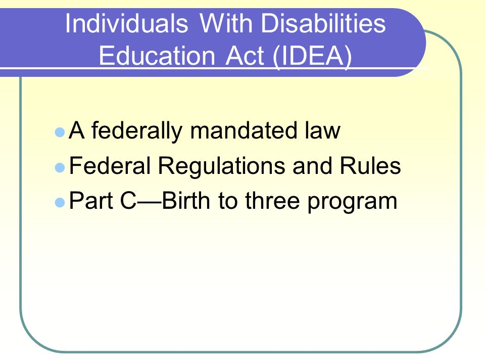 idea individual with disabilities education act essay Individuals with disabilities education act (idea) write a comprehensive paper that 1 policy creation- the who, what, where, why and when of the policy 2 historical significance- impact on american lives must be discussed 3  are you looking for a similar paper or any other quality academic essay then look no further our research paper writing service is what you require.