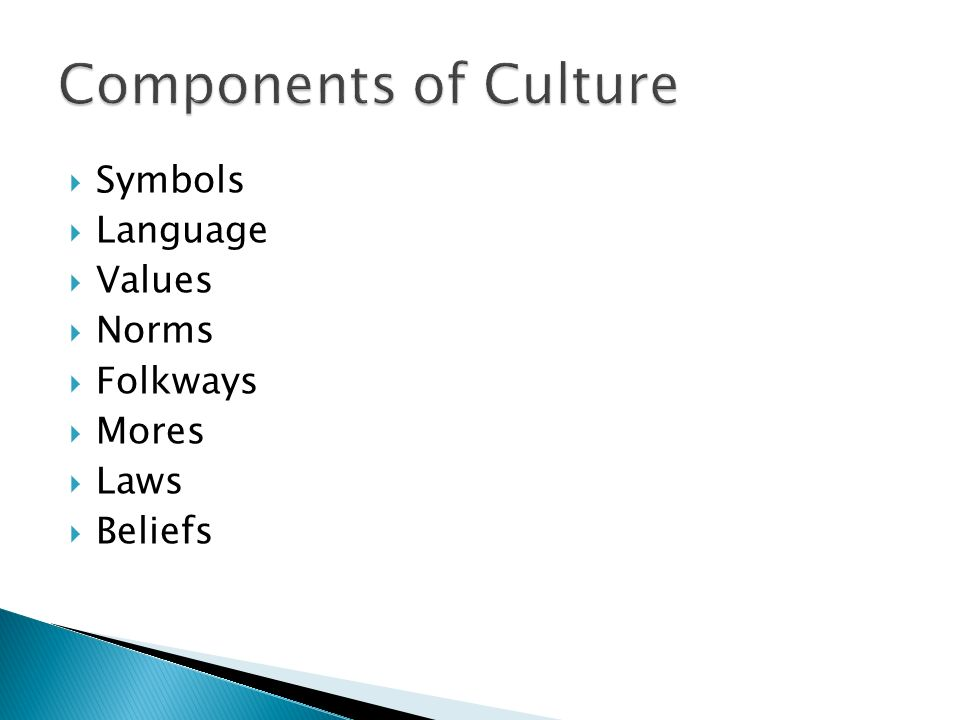 components of culture are symbols language values beliefs norms The components of culture are: the attitudes, beliefs, customs, traditions, art, clothing, food, language and achievements of society that are passed on to each generation.
