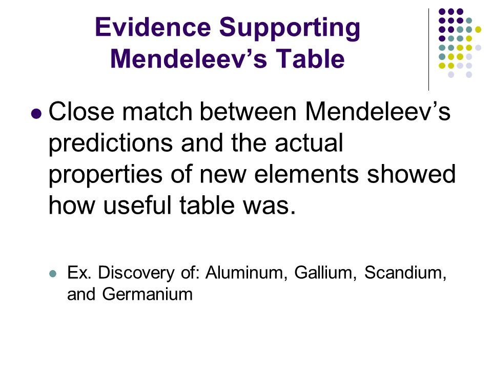 Periodic Table mendeleevs periodic table helped predict properties of : Chapter 5: The Periodic Table - ppt video online download