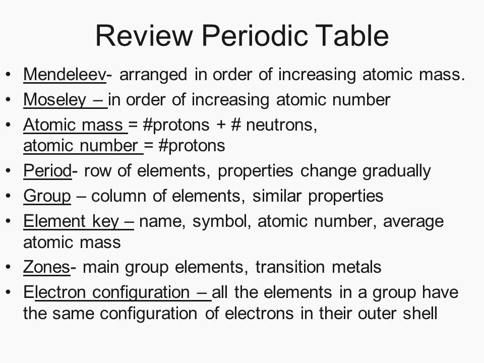 Chapter 17 properties of atoms and the periodic table section 3 review periodic table mendeleev arranged in order of increasing atomic mass moseley in urtaz Images