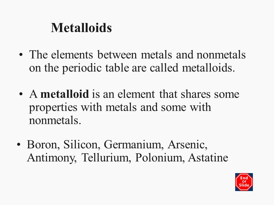 Chapter 17 properties of atoms and the periodic table section 3 metalloids the elements between metals and nonmetals on the periodic table are called metalloids urtaz Gallery