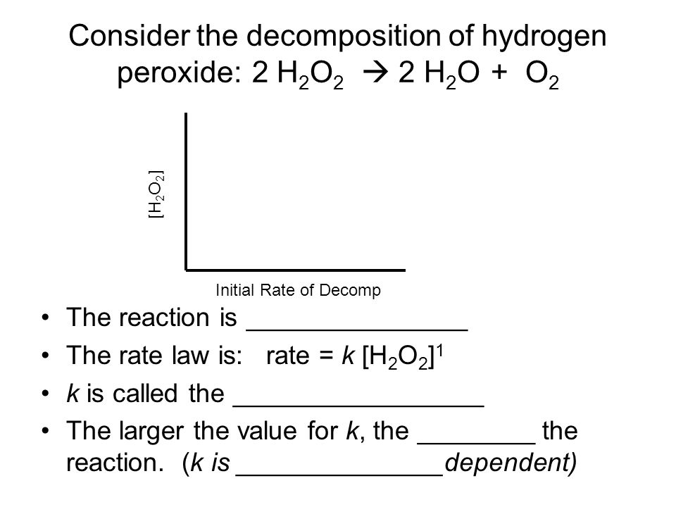 a description of the chemistry experiment hydrogen peroxide decomposition Burning in pure oxygen burning in pure take the chemical and its container with you manganese oxide catalyze hydrogen peroxide decomposition.