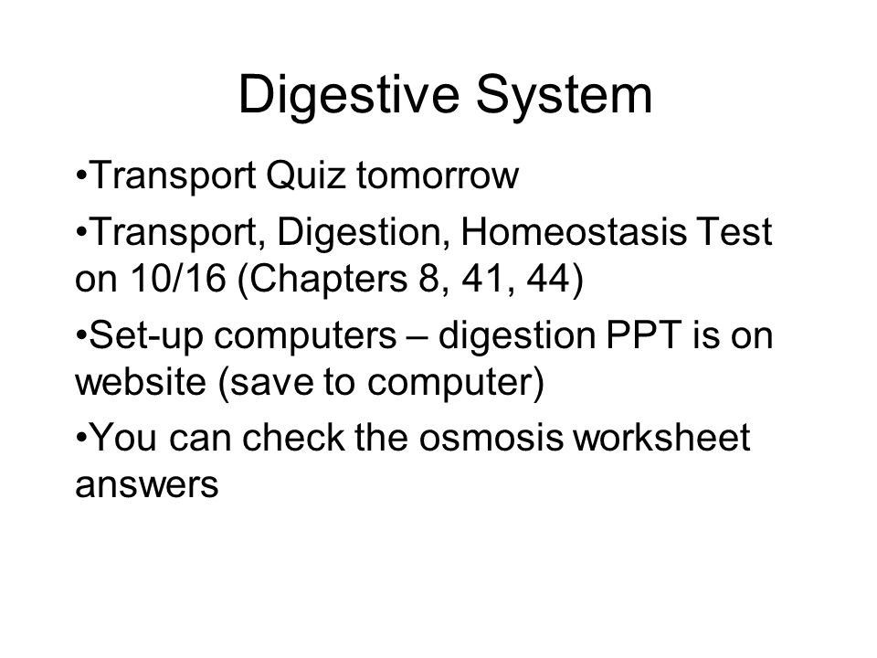 Digestive System Transport Quiz Tomorrow Ppt Video Online Download. Digestive System Transport Quiz Tomorrow. Worksheet. Digestion Worksheet Answers At Mspartners.co