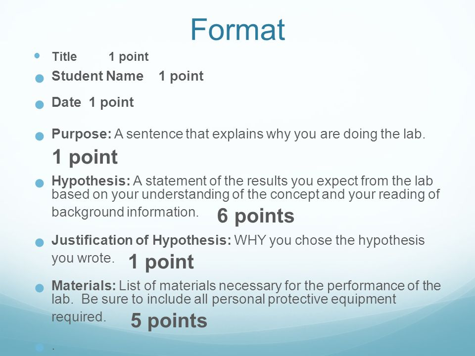 how do you write a hypothesis for a lab report The students' goals for the lab were to develop a hypothesis regarding   students completed a hypothesis-writing exercise before formulating.
