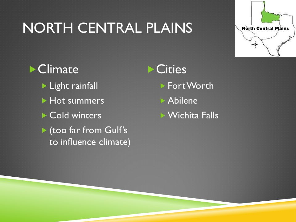 North Central Plains Climate Cities Light rainfall Hot summers