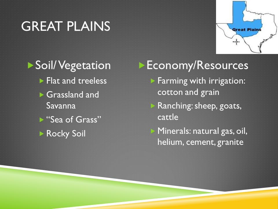 Great Plains Soil/ Vegetation Economy/Resources Flat and treeless