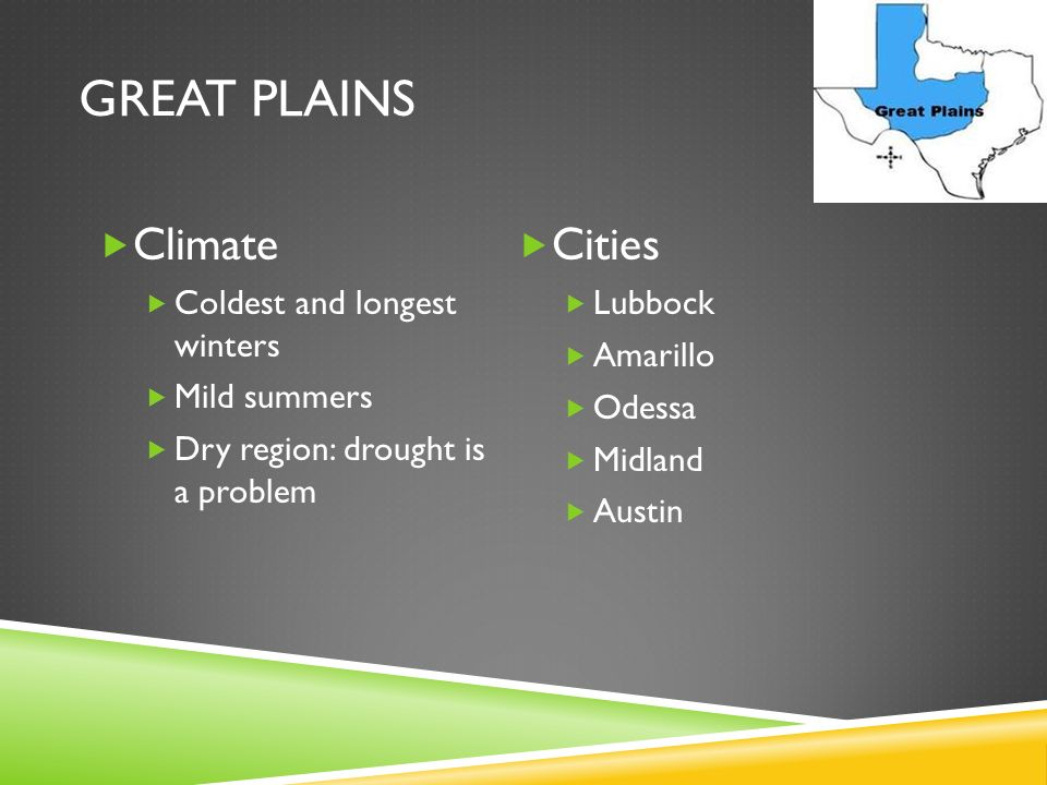 Great Plains Climate Cities Coldest and longest winters Mild summers