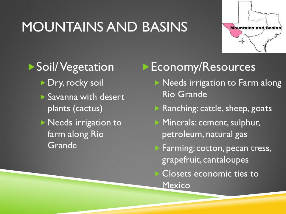 Mountains and Basins Soil/ Vegetation Economy/Resources