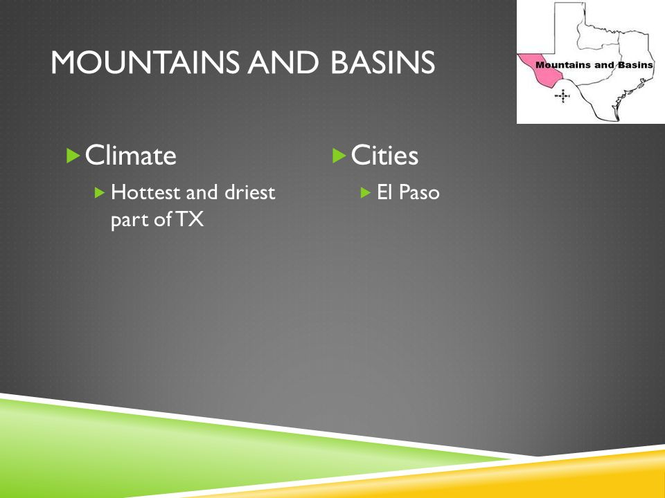 Mountains and Basins Climate Cities Hottest and driest part of TX