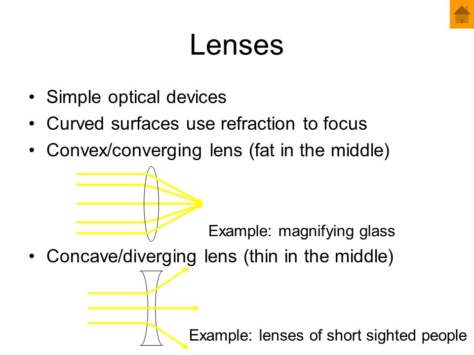 Lenses Simple optical devices Curved surfaces use refraction to focus