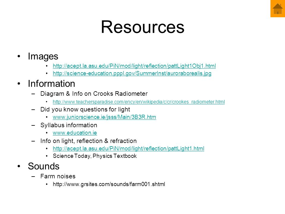 Resources Images Information Sounds