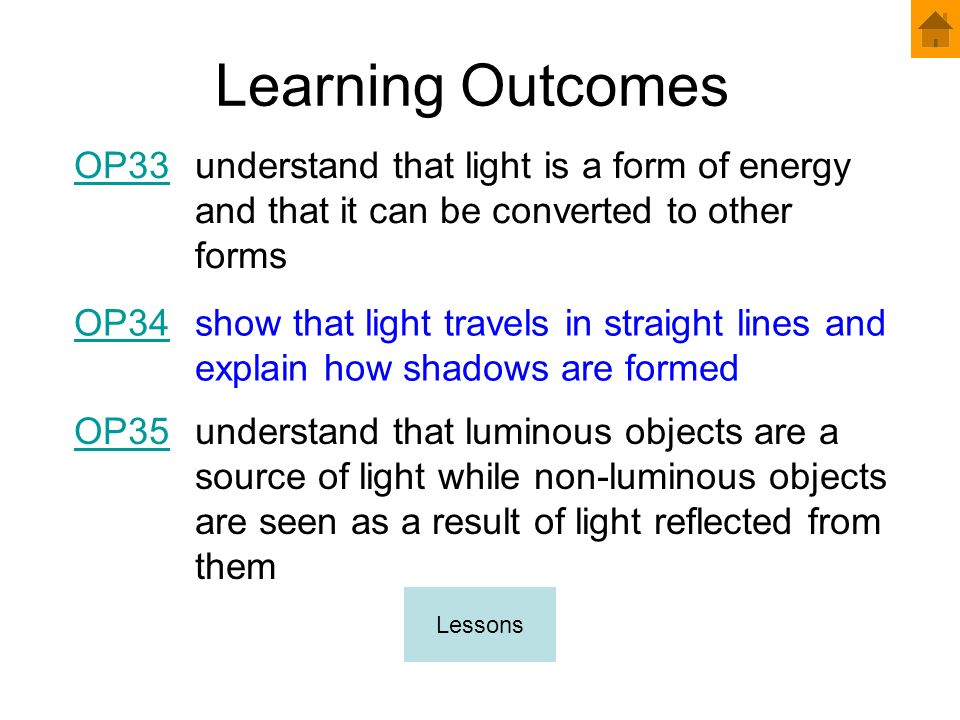 Learning Outcomes OP33. understand that light is a form of energy and that it can be converted to other forms.