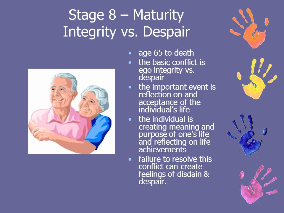 integrity vs dispair There is a great line in the movie fried green tomatoes jessica tandy plays a woman in her eighties who befriends a woman in midlife, played by kathy bates the 50.