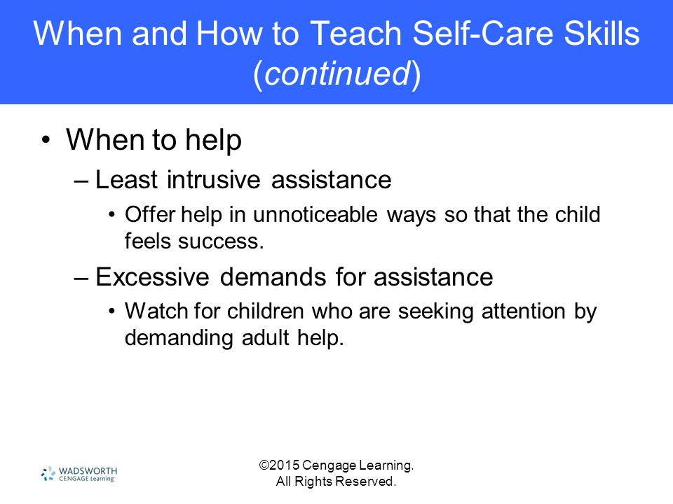 Teaching self care skills to adults