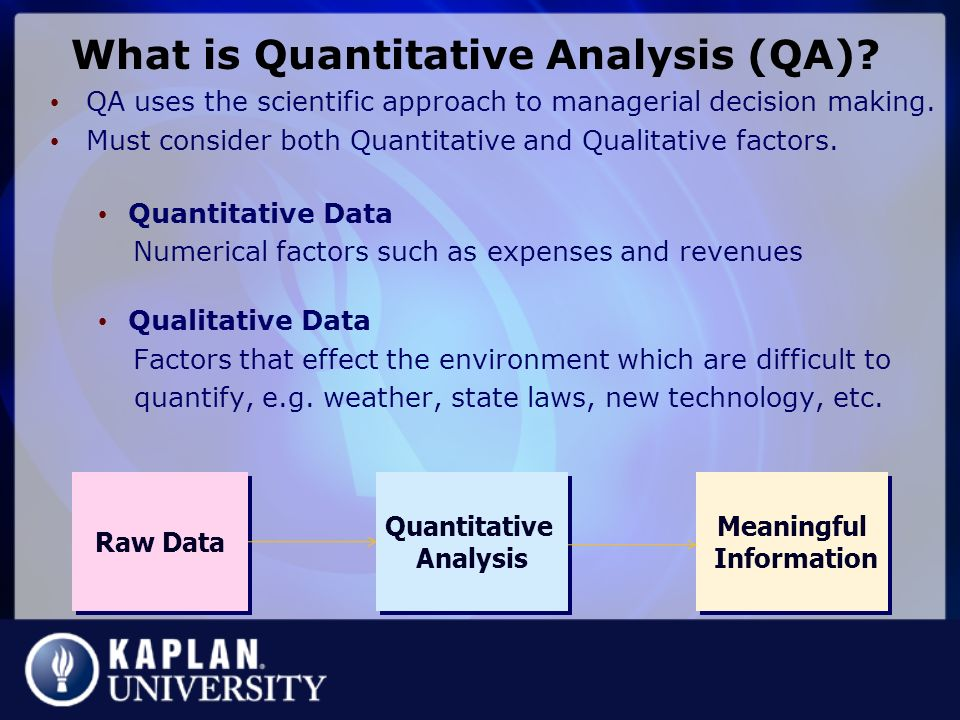 Quantitative Analysis. Quantitative-Analysis-Example Sample