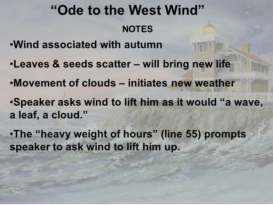 an analysis to the ode to the west wind by percy bysshe shelley Ode to the west wind by percy bysshe shelly prev article next article in this poem, ode to the west wind , percy shelly creates a speaker that seems to worship the wind.