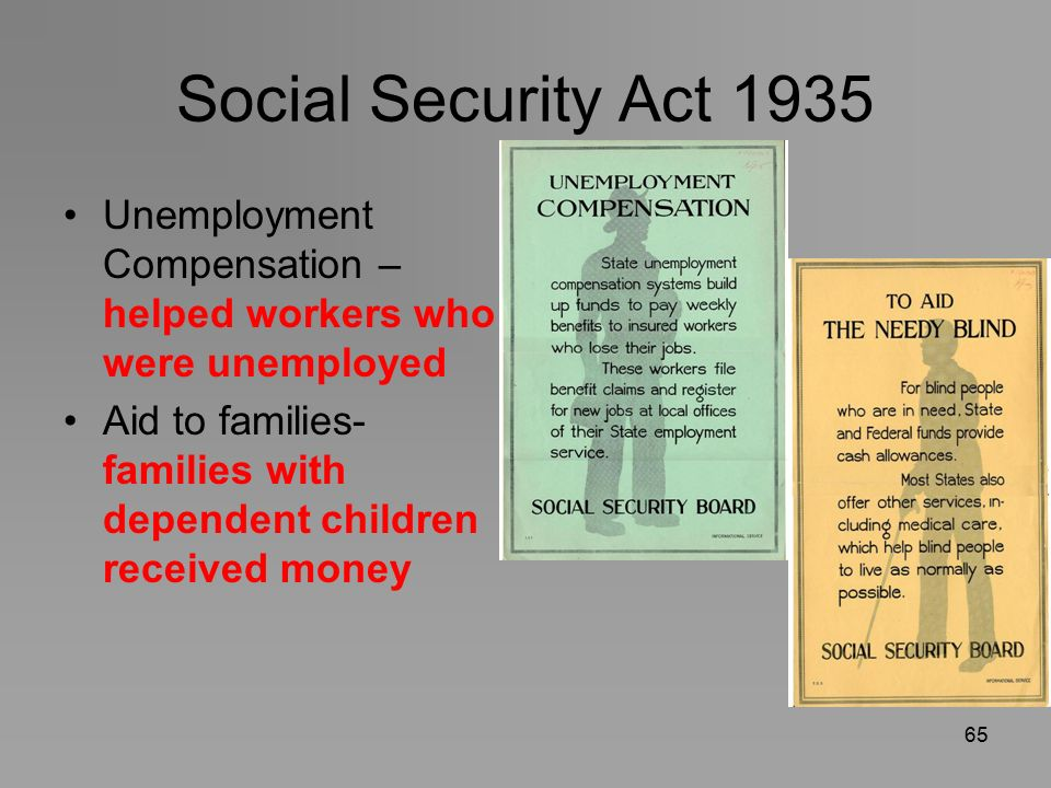 social security act The social security act is a law enacted in 1935 to create a system of transfer payments in which younger, working people support older, retired people.