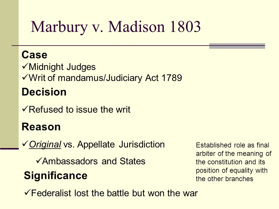 marbury v. madison essay Instructions: in 1803, the us supreme court issued its decision in marbury v madison the immediate issue at stake in the case was whether or not president john adams' appointment of william marbury as justice of the peace in the district of columbia was valid.