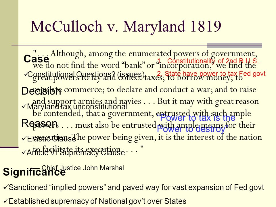 mcculloch v maryland 1819 Maryland covers congress' discretionary authority  in mcculloch v  maryland , 17 us 316 (1819) is regarded as one of chief justice john.