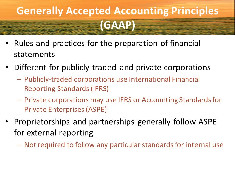Generally accepted accounting principles and capital