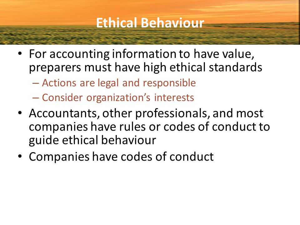 Ethical and legal financial reporting