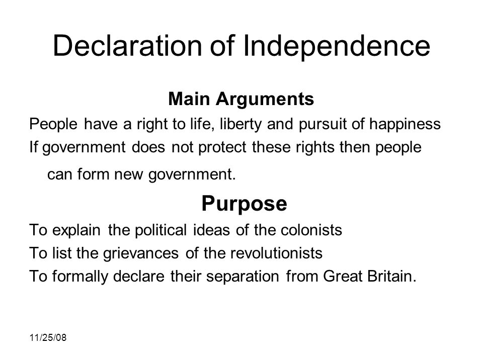 Abstractions in the Declaration of Independence