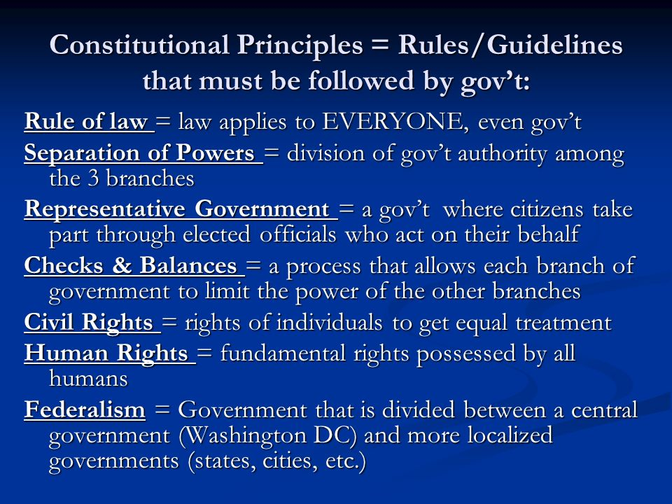 constitutional principles individual rights Founding principle of the united states of america: individual rights only if americans discover our founding principle of individual rights and eliminate the.