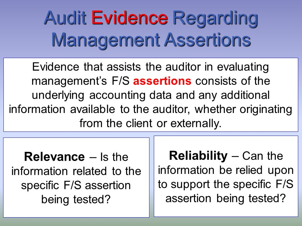 evidence from auditors about managers and Audit and may include audit evidence obtained from other sources, such as pre-vious audits and a rm's quality control procedures for client acceptance and assurance the auditor obtains from a management representation conversely.