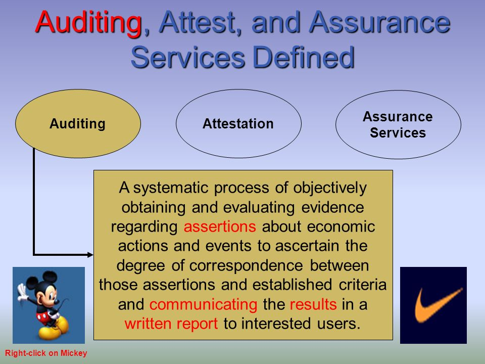 assurance services versus attestation services What is the difference between assurance and non assurance tax services and management consulting services -- these fall outside assurance engagements a significant difference between assurance and attestation engagements is that assurance engagements do not necessarily result.