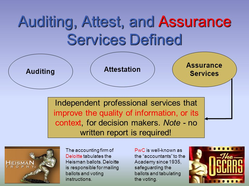 auditing and assurance an overview Independent standard-setting boards auditing & assurance the international auditing and assurance standards board sets high-quality international standards for.
