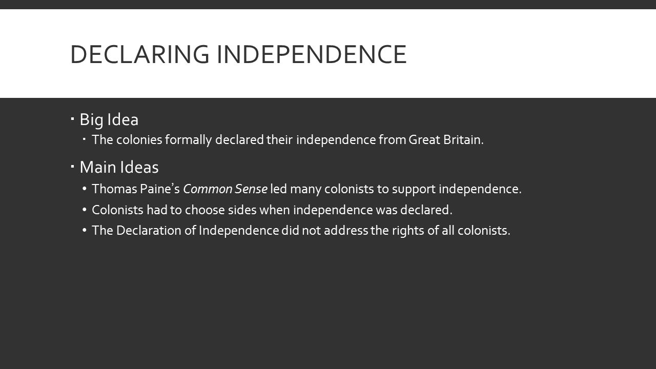 common sense vs declaration of independence The declaration of independence and the work of thomas paine: common sense the pamphlet common sense, made by thomas paine, was invaluable to informing the people of how they owed no loyalty to britain.