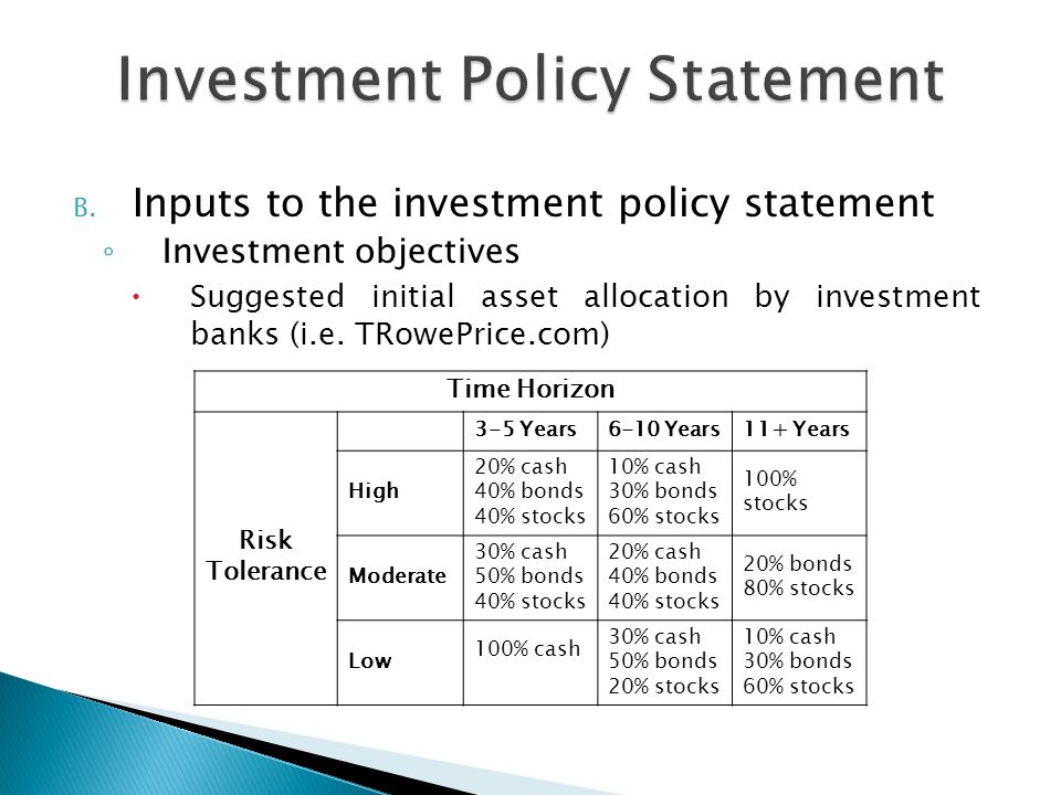 Investment and risk tolerance essay