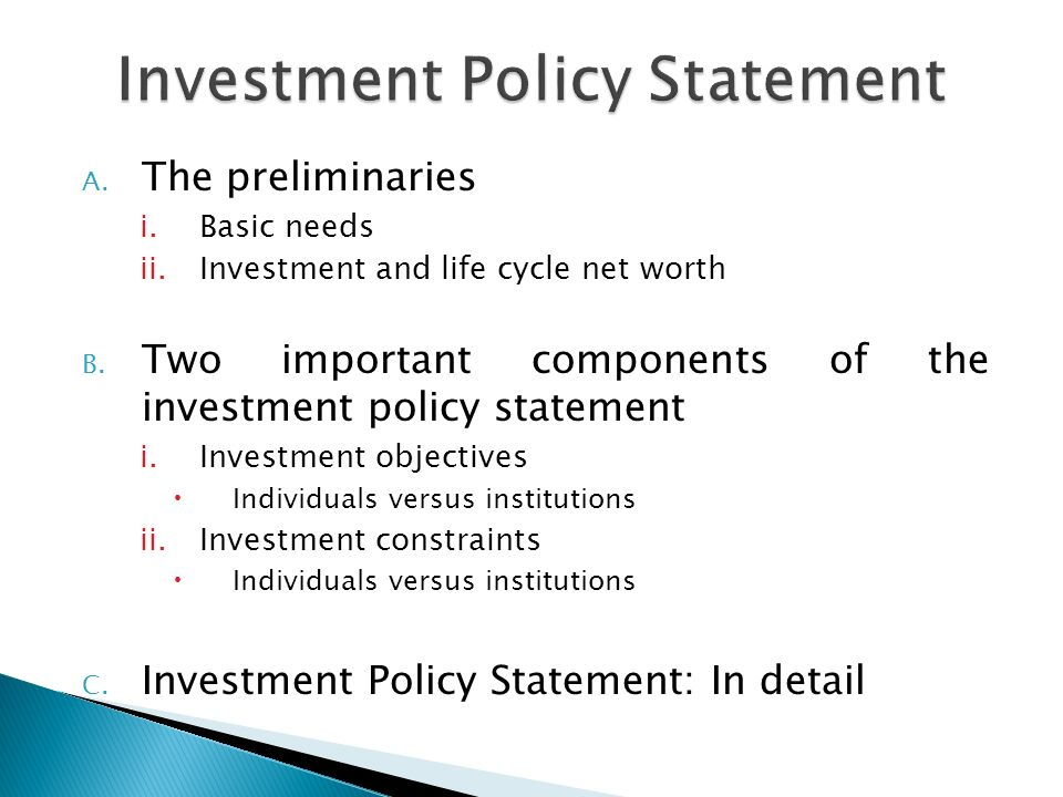 Investment Policy Statement ppt download – Investment Policy Statement