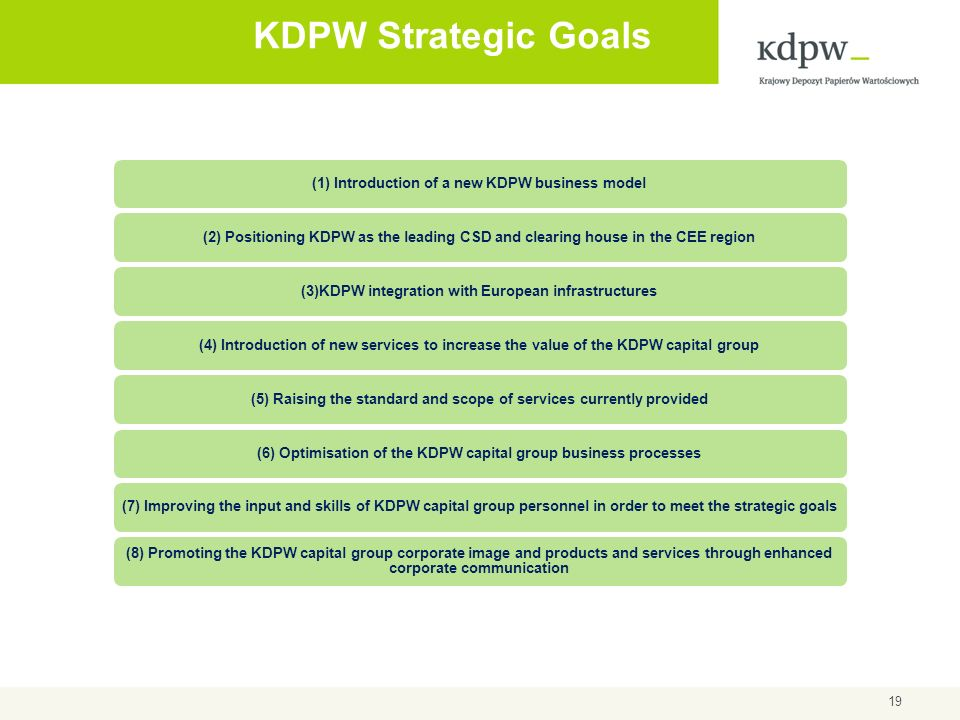 KDPW Strategic Goals (1) Introduction of a new KDPW business model