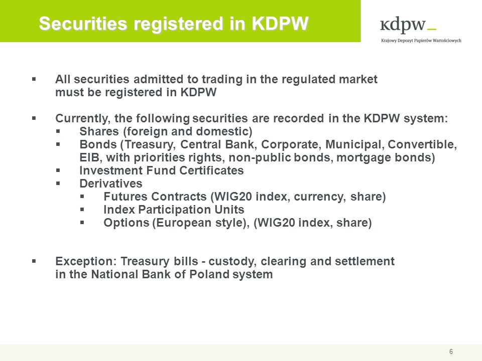 Securities registered in KDPW