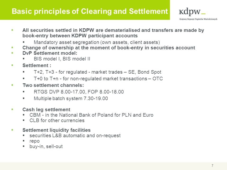 Basic principles of Clearing and Settlement
