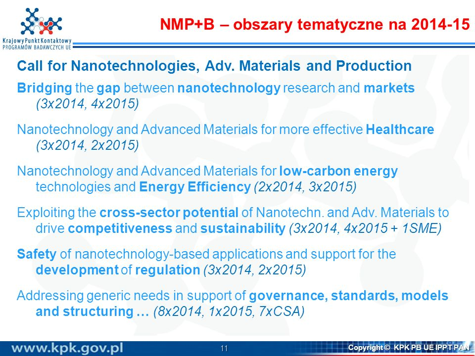 NMP+B – obszary tematyczne na 2014-15