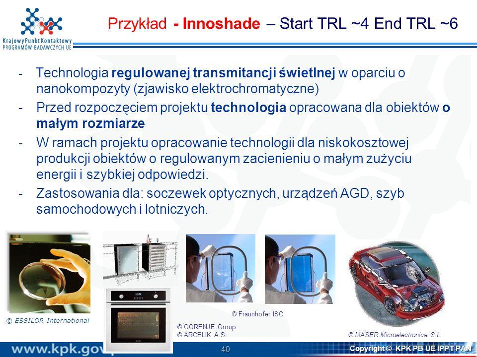 Przykład - Innoshade – Start TRL ~4 End TRL ~6