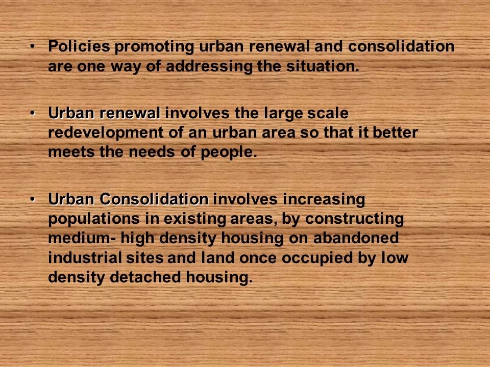establishment of urban consolidation policies Figure 12 sydney's urban growth history figure 21 household types in sydney • does sydney's urban consolidation policy include a social dimension that.
