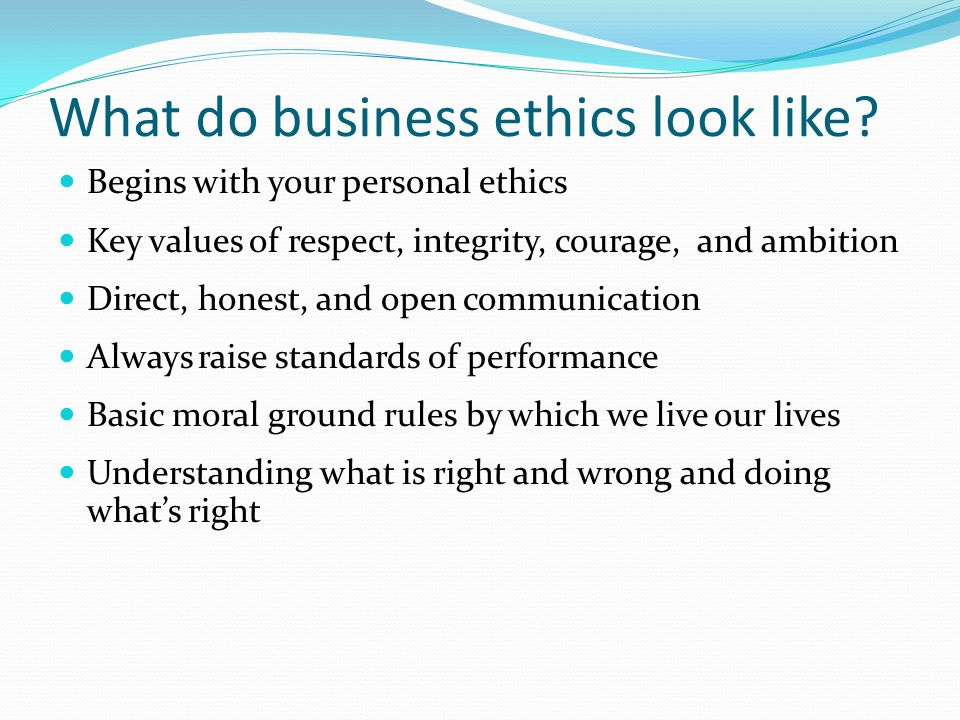 personal values ground rules and ethics