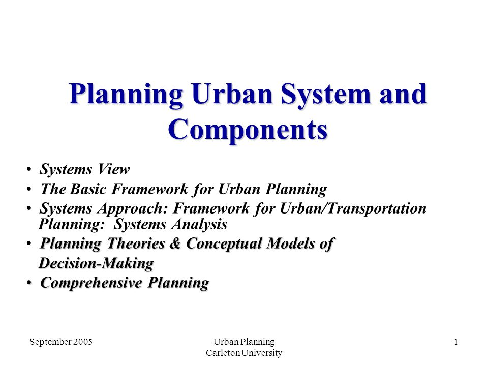 Planning Urban System and Components
