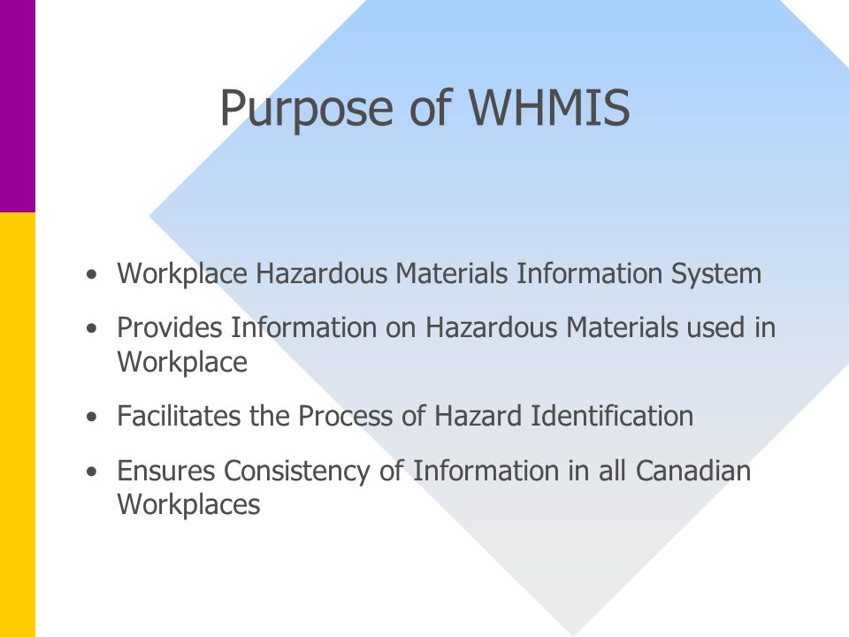 workplace hazardous material information system The workplace hazardous materials information system (whmis) is a  comprehensive national system for safe management of hazardous chemicals  which.
