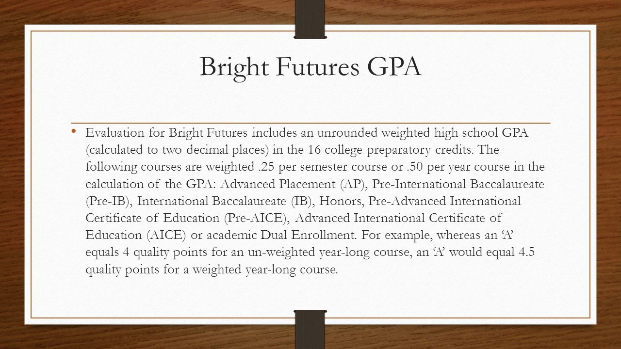 Bright Futures Gpa Cap Advisor Mscoto Pinecrest Preparatory Middle High Ppt  Download How To Calculate