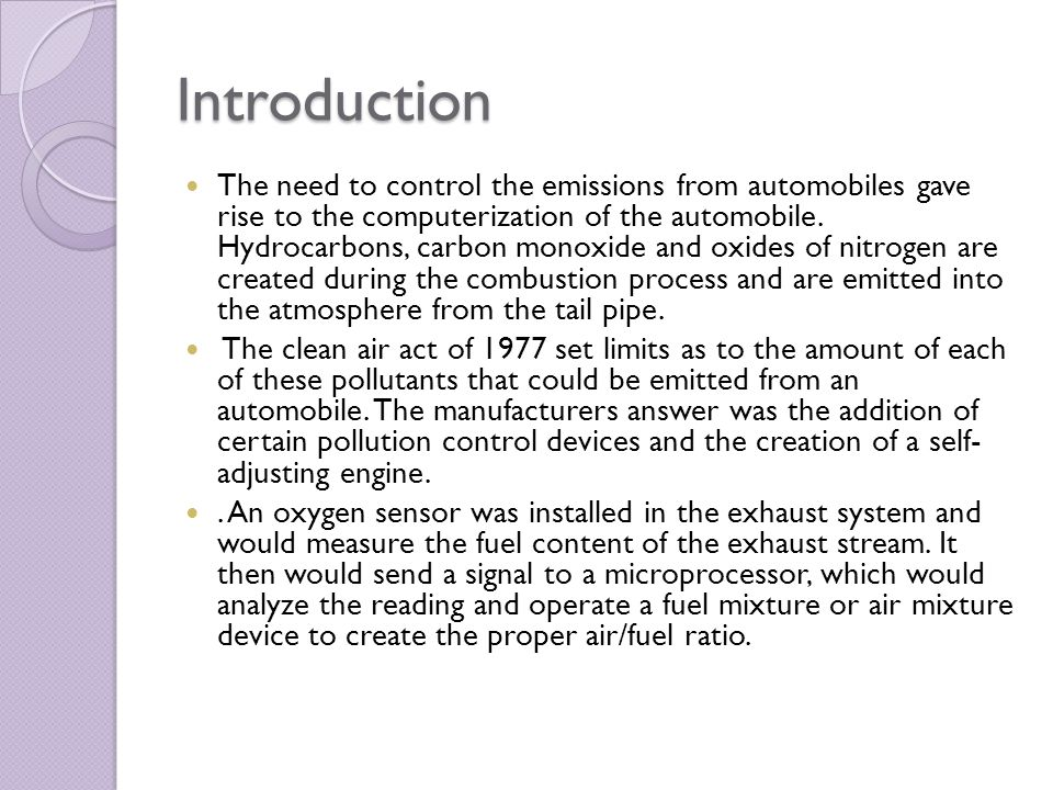 an introduction to the issue of automobile emissions Rff reports address major issues of public policy in a manner vehicle emissions: experience and policy 41 including policies that target smaller motor vehicles and the environment motor vehicles and the environment.