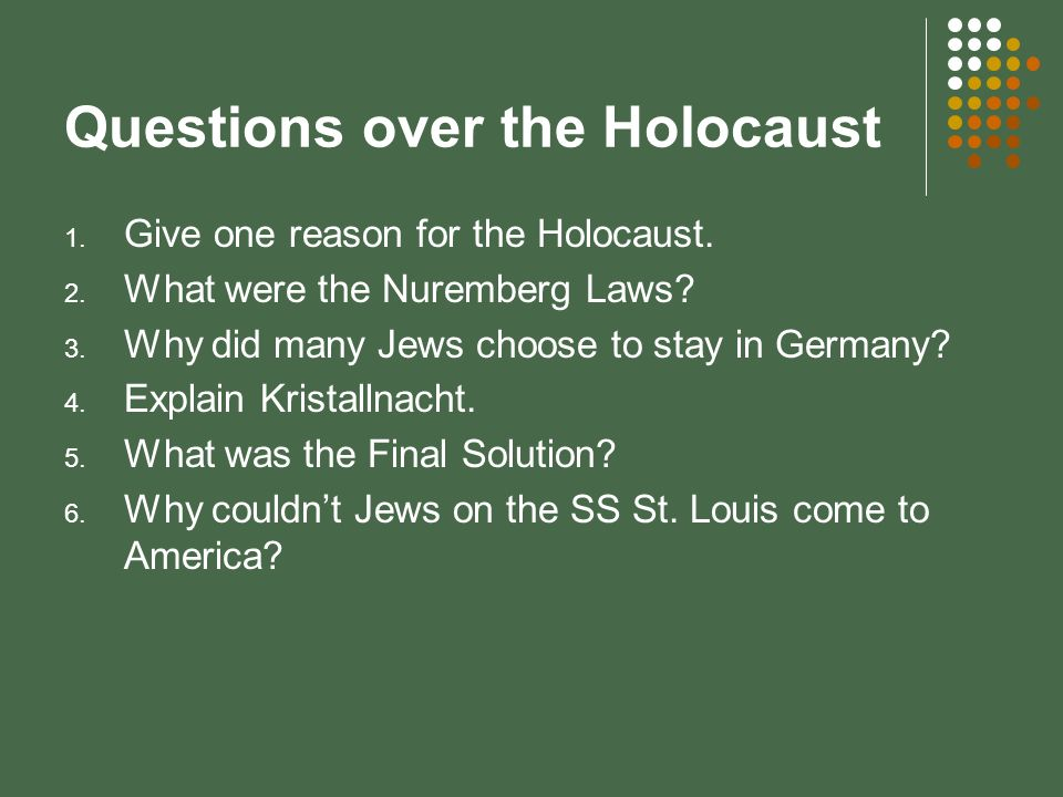 Questions over the Holocaust