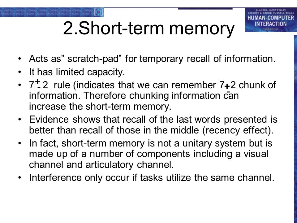 the effect chunking of numbers has on short term memory recall essay This report aimed to investigate the effects of distraction and chunking on short term memory performance a serial recall task was used to investigate this in a sample of 20 male and female undergraduate student in a within subject design this data was analysed with a two way repeated measures.