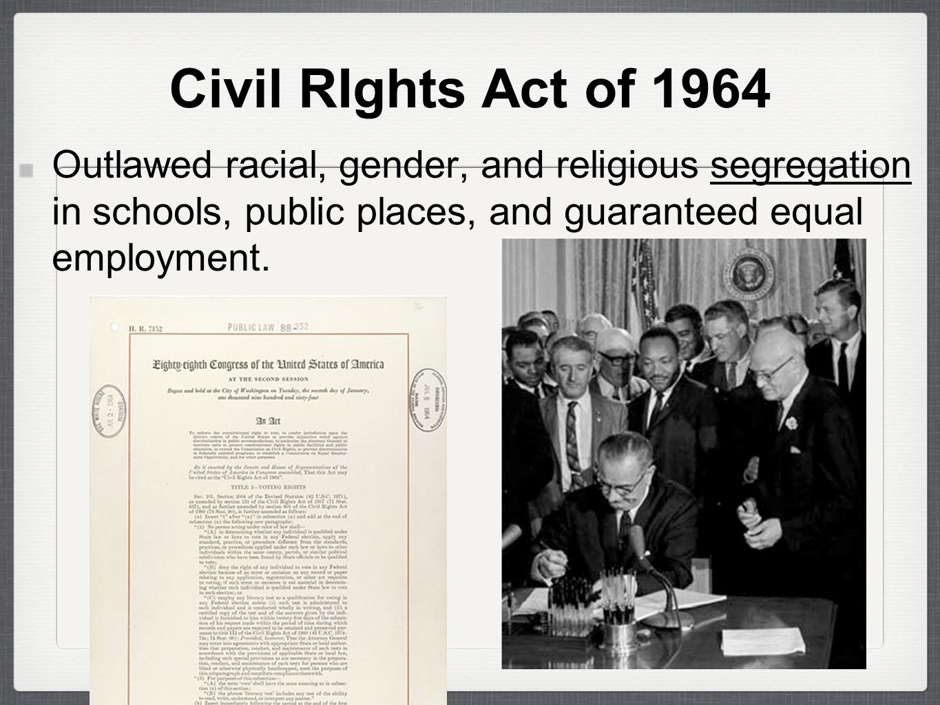 Civil rights act of 1964 reevaluation