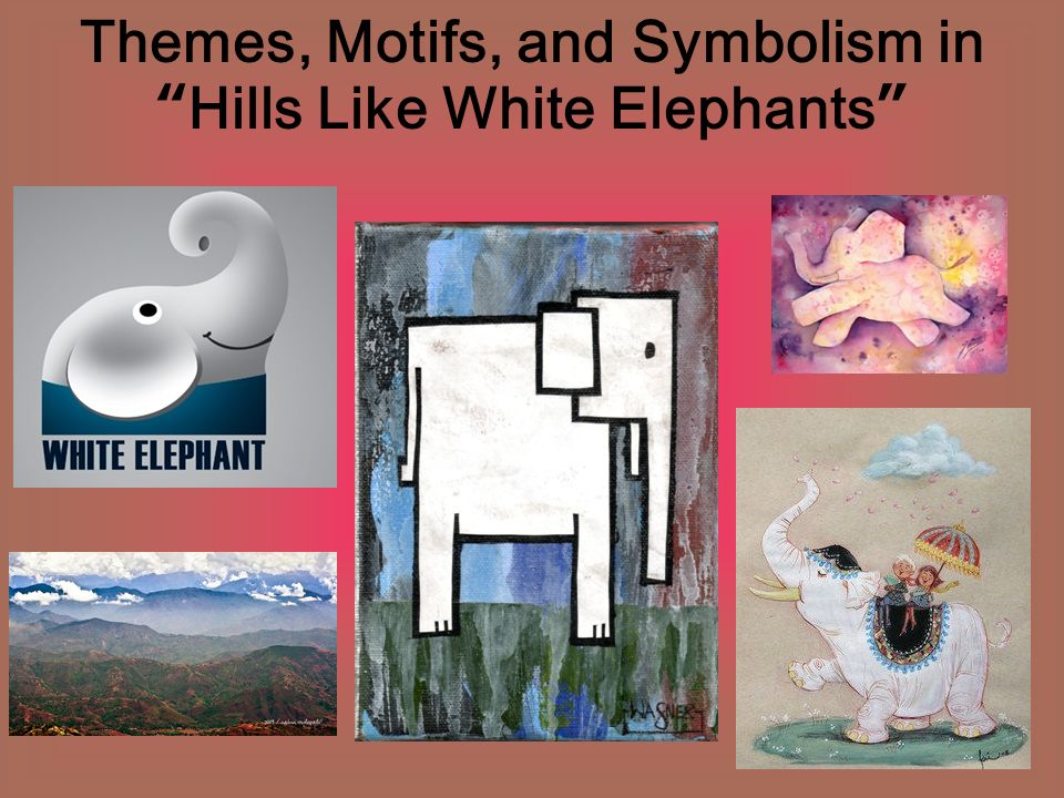 "the symbolism of the setting in the short story hills like white elephants by ernest hemingway Because ernest hemingway gives away very little information outright in this ""hills like white elephants,"" using equivocal dialogue between the two main characters, ""the man"" and ""jig"" by narrating as an ambivalent observer and by keeping true to his usual writing style of short, clipped sentences that give just enough information to be."