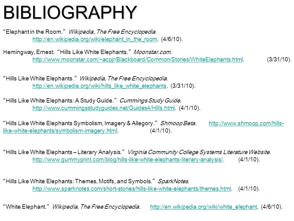 "themes motifs and symbolism in ""hills like white elephants  29 bibliography ""elephant"