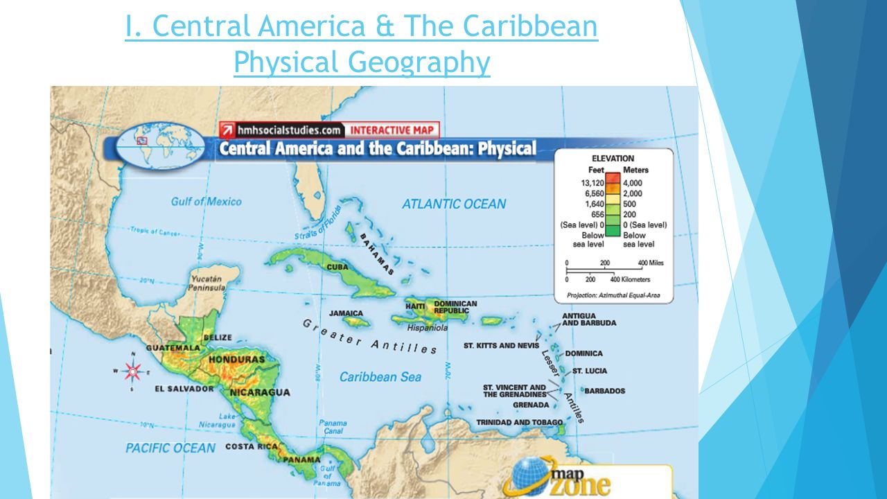 Mexican Caribbean Map Central America Includes The Countries - Central america and caribbean map quiz